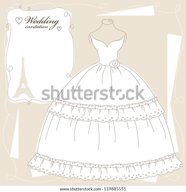 vintage wedding invitation background dress stock vector royalty free 119885551 shutterstock