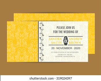 Vintage Wedding Invitation Card.