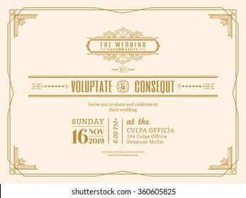 Vintage Wedding invitation card border and frame design template