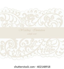 Vintage Wedding Invitation card with delicate lace ornament. Cream gold color. Vector