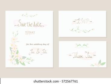 Vintage wedding invitation card set with floral orange blossom design. Vector save the date invitation with floral design. Calligraphy vector invitation.