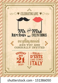 vintage wedding invitation card template vector/illustration