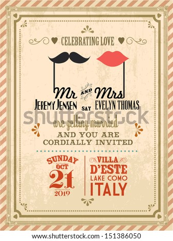 vintage wedding invitation card template vectorillustration の
