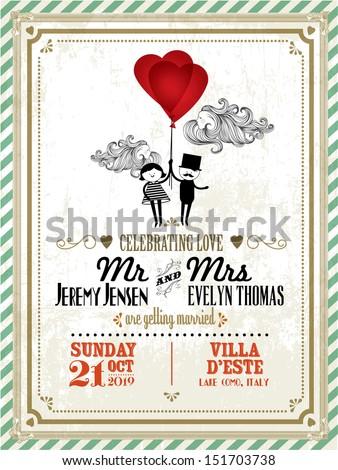 vintage wedding invitation card template boy のベクター画像素材