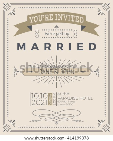 vintage wedding invitation card template with clean simple layout illustration