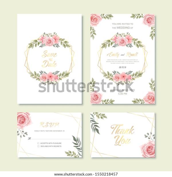 Vintage Wedding Invitation Card Watercolor Flower Stock Vector ...