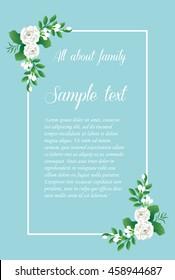 Vintage wedding invitation card,Thai White Jasmine Flower on blue background ,Vector Illustration