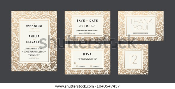 Vintage Wedding Invitation Collection Modern Design Stock Vector ...