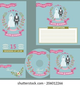 Vintage wedding invitation design  template set with floral wreath. Cute cartoon retro wedding wear with vignettes,ribbons.For Wedding  invitation,  CD cover,reception card , thanksgiving.Vector
