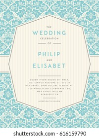 Vintage Wedding Invitation design template with damask background. Tradition decoration for wedding. Vector illustration