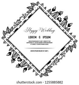 Vintage wedding invitation floral hand draw vector