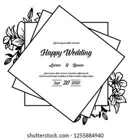 Vintage wedding invitation with flowers hand draw vector