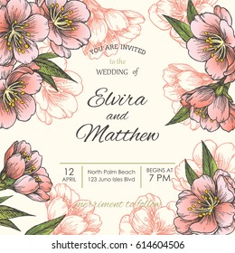 Vintage wedding invitation or greeting card template. Vector hand drawn illustration with spring blooming sakura. Botanical texture with pink flowers of almond, cherry, apple or peach tree.