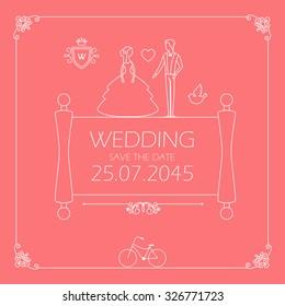 Vintage Wedding invitation with Groom & Bride in trendy mono line style. Vector illustration