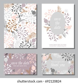 Vintage wedding invitation set design template with abstract leaves.  Can be used for Save The Date, mothers day, valentines day, birthday cards, invitations.