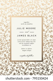Vintage Wedding Invitation template with golden floral background. Vector illustration
