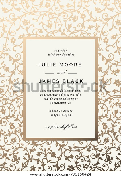 vintage wedding invitation template golden floral stock vector royalty free 795150424 https www shutterstock com image vector vintage wedding invitation template golden floral 795150424