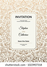 vintage wedding invitation template greeting card with frame and texture background vector illustration
