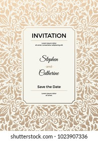 Vintage wedding invitation template. Greeting card with frame and texture background. Vector illustration.