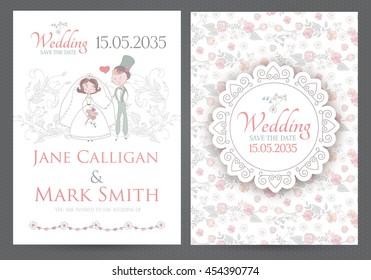 Vintage Wedding Invitation Template With Groom Bride And Elegant Vignettes Cartoon Flourish Design