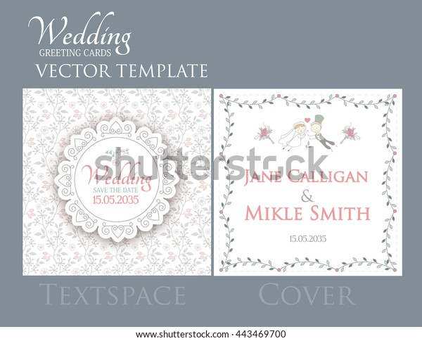 Vintage Wedding Invitation Template Groom Bride Stock Vector