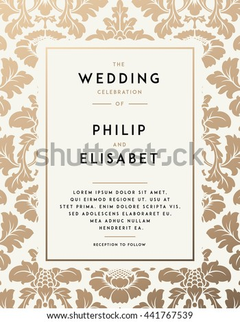 vintage wedding invitation template modern design のベクター画像