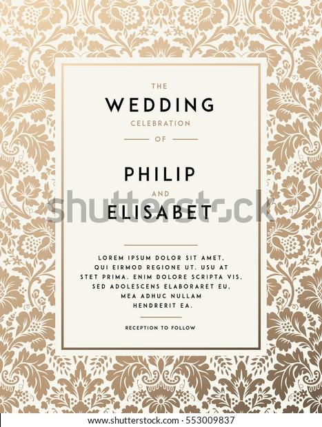 Vintage Wedding Invitation Template Modern Design | Royalty-Free ...
