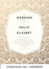 Vintage Wedding Invitation template. Vector illustration