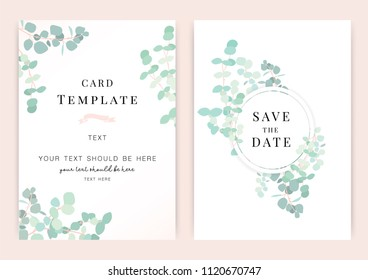 Vintage wedding invitation templates. Cover design with green leaves ornaments. Vector traditional decorative backgrounds.