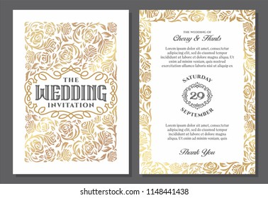 Vintage wedding invitation templates. Cover design with gold roses ornaments. Vector traditional in light