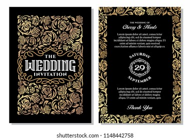 Vintage wedding invitation templates. Cover design with gold roses ornaments. Vector traditional in dark backgrounds.