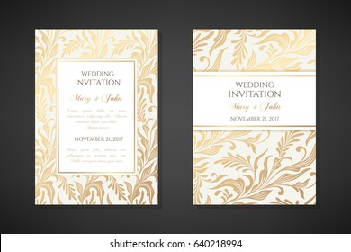 Vintage wedding invitation templates. Cover design with gold foliage ornaments. Vector  traditional decorative backgrounds.
