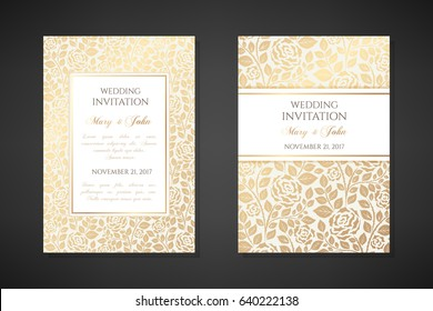 Vintage wedding invitation templates. Cover design with gold rose flowers ornaments. Vector  traditional decorative backgrounds.
