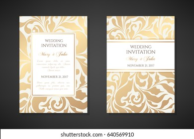 Vintage wedding invitation templates. Cover design with gold ornamental leaves. Vector  traditional decorative backgrounds.
