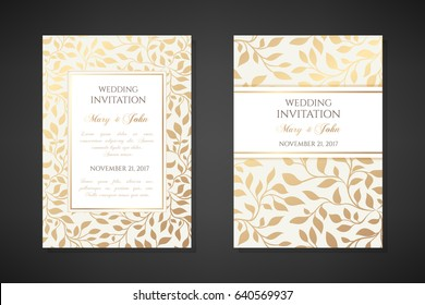 Vintage wedding invitation templates. Cover design with gold leaves ornaments. Vector  traditional decorative backgrounds.