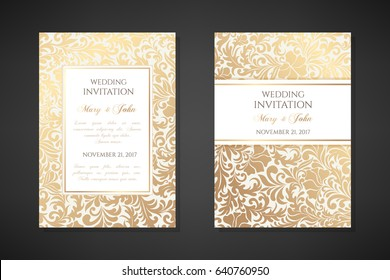 Vintage wedding invitation templates. Cover design with gold floral ornaments. Vector  traditional decorative backgrounds.