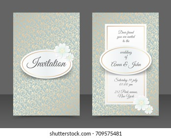 Vintage wedding invitation templates. Cover design with golden leaves ornament, oval, white daisy flower. Vector traditional decorative background. Save the date card copper color floral backdrop.