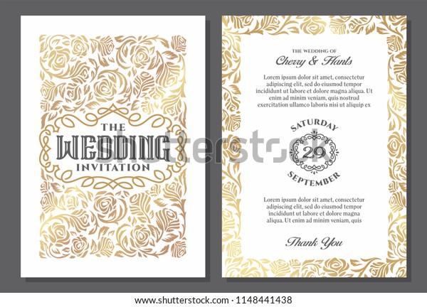 Vintage Wedding Invitation Templates Cover Design Stock Vector Royalty Free 1148441438