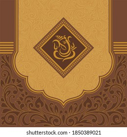 Vintage wedding invitation templates with Ganesh. Vector traditional decorative backgrounds.