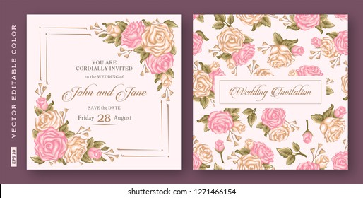 Vintage wedding invitation - Vector