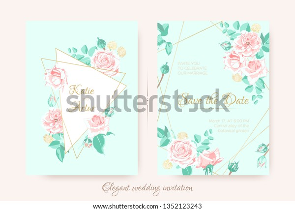 Vintage Wedding Invite Roses Pastel Colors Stock Vector (Royalty ...