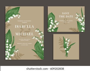 Vintage wedding set with spring flowers. Lilies of the valley and fern. Wedding invitation, save the date, reception card. Vector illustration. Kraft.