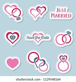 Vintage wedding symbols labels with rings and hearts