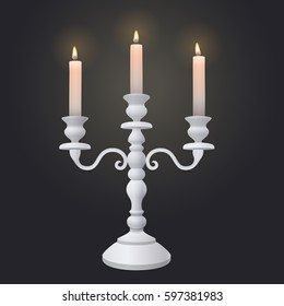 vintage wedding white three armed Provence tabletop candle holder candelabra with burning white wax candlesticks on dark background. vector illustration