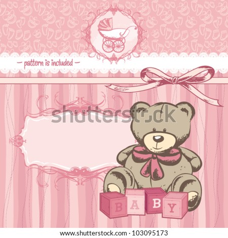 vintage welcome baby girl announcement card stock vector royalty