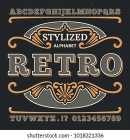 Vintage western 3d typography. Gothic retro vector type. Retro numbers and letters. Abc text, alphabet type vintage, gothic typography and number illustration
