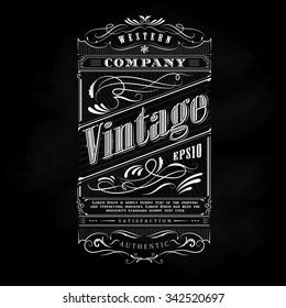 Vintage western hand drawn frame label blackboard typography border vector illustration