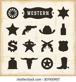 Vintage Western Icons Set. Editable EPS10 vector illustration with transparency.