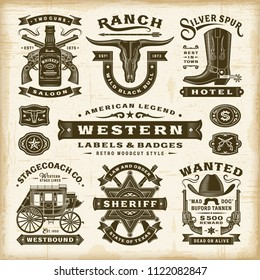 Vintage Western Labels And Badges Set. Editable EPS10 vector illustration in retro woodcut style with transparency.