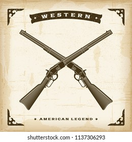 Vintage Western Rifles. Editable EPS10 vector illustration with transparency in retro woodcut style.